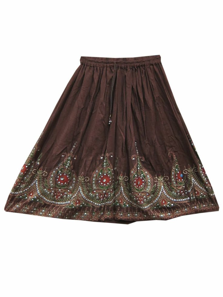 Sequin Skirt Rayon Skirt Brown Hand Work Gypsy Hippie Skirts