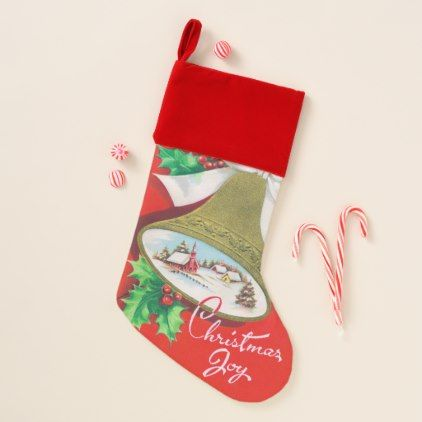Vintage Christmas joy retro stocking - Xmas ChristmasEve Christmas Eve Christmas merry xmas family kids gifts holidays Santa