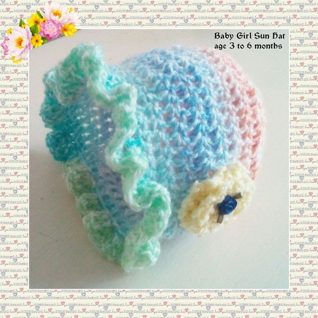 Crochet Hat Baby Girl  New Born, Three Months,Turquoise Pink, Sun Bonnet £5.95