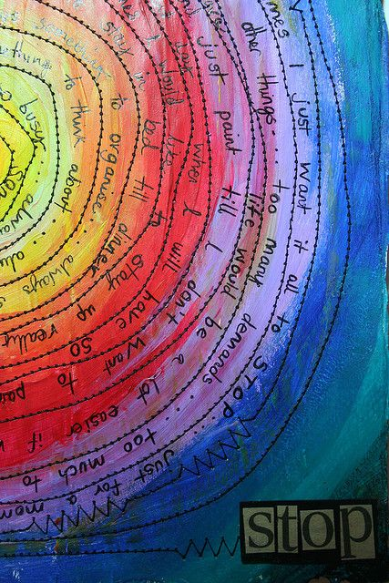 Art Journal 'Stop' by thekathrynwheel, via Flickr- color mixing?