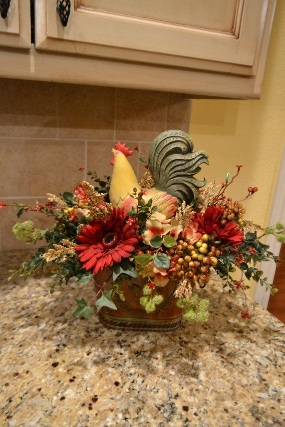 Colorful Rooster Arrangement by kristenscreations on Etsy, $62.00