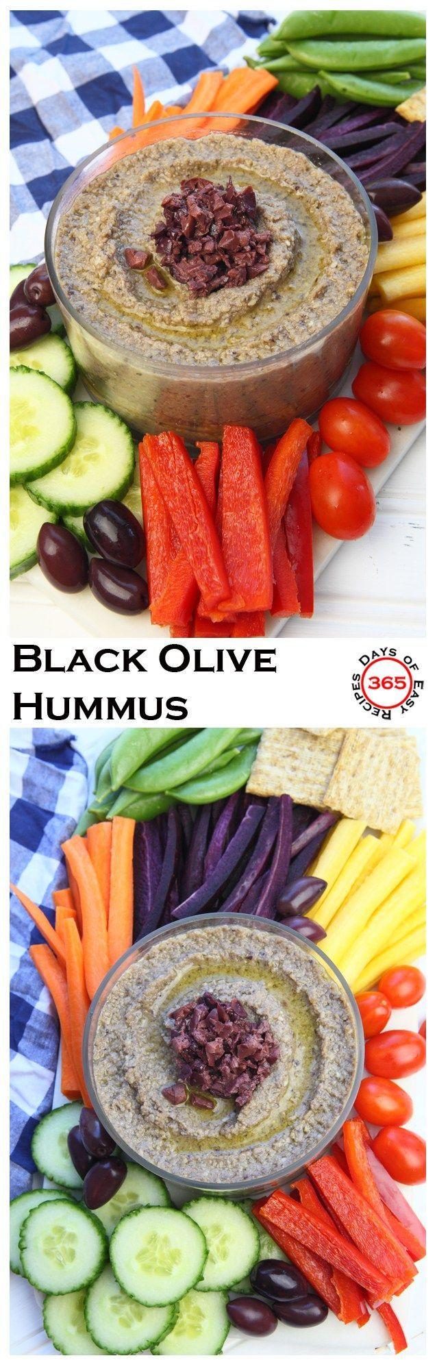 A delicious healthy snack - easy black olive (kalamata) hummus