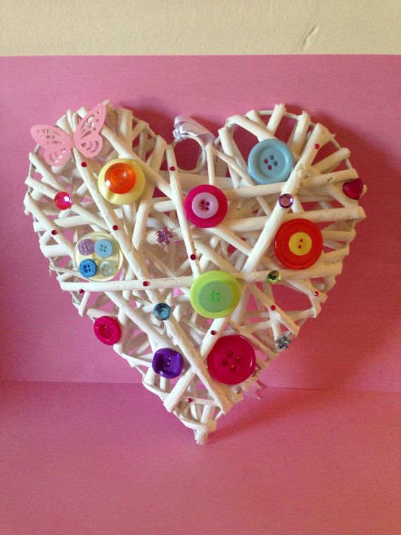 Handmade button decorated wicker heart