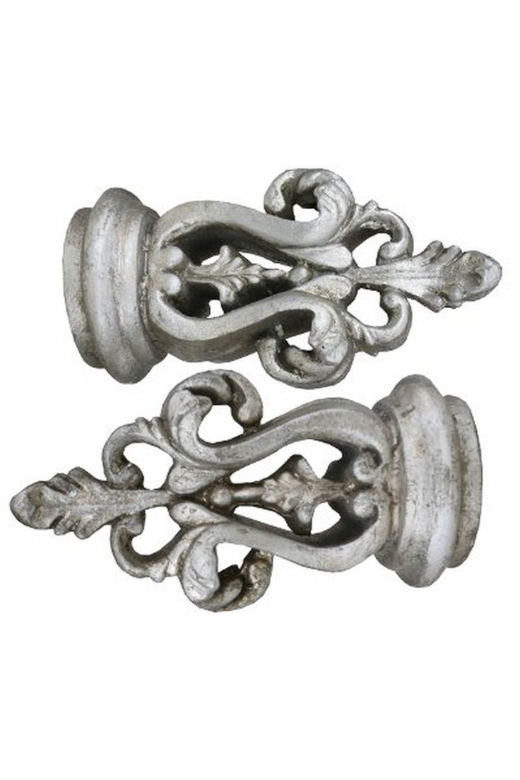 Silver Gilt Leaf Curtain Finials - 6 Inch: Sales Price £24.00