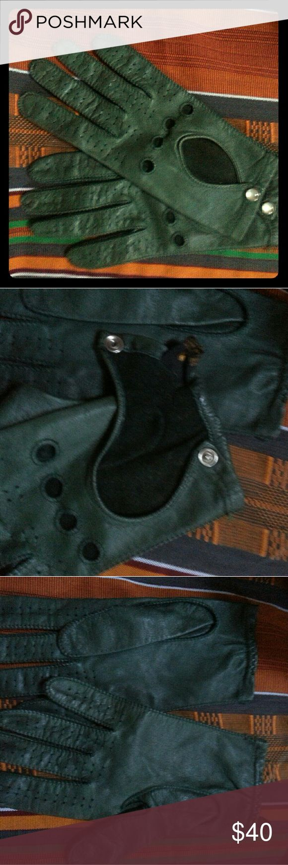 Kid leather driving gloves - Vintage Green Leather Driving Gloves Womens M