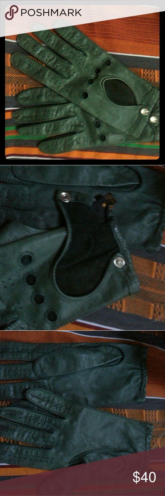 James bond leather driving gloves - Vintage Green Leather Driving Gloves Womens M