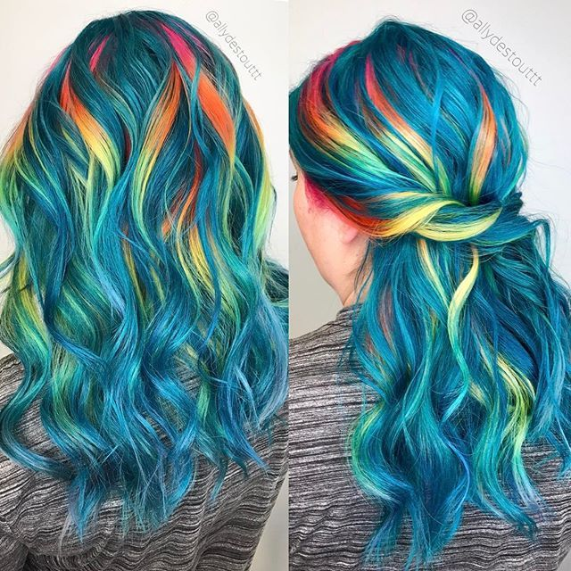 Blue hair with rainbow highlights