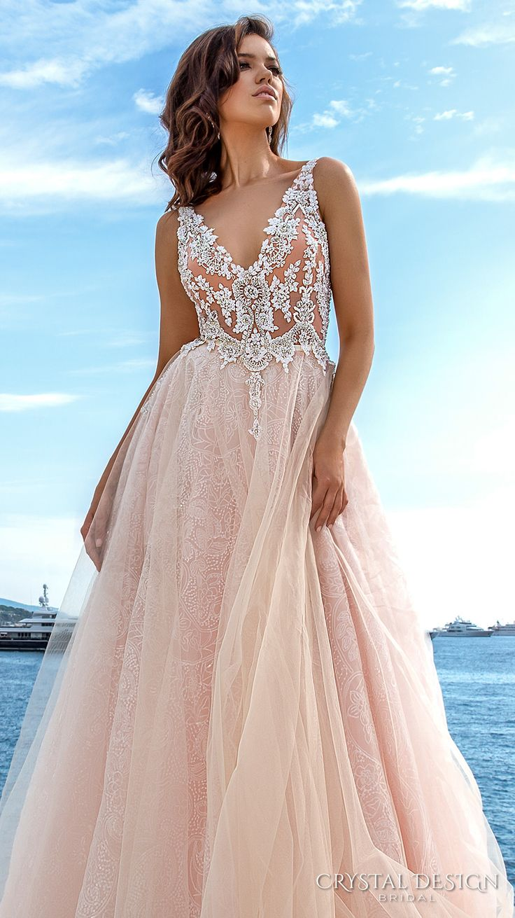 crystal design 2017 bridal sleeveless v neck heavily embellished bodice tulle skirt princess romantic blush color a  line wedding dress low back long royal train (andrea) zv #wedding #bridal #pink #weddingdress