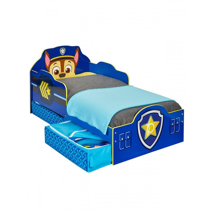 Paw Patrol Chase Toddler Bed with Storage is available with three mattress options and Free Next Day UK Mainland Delivery.