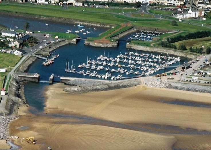 Ariel view of Burry Port Harbour and Beach