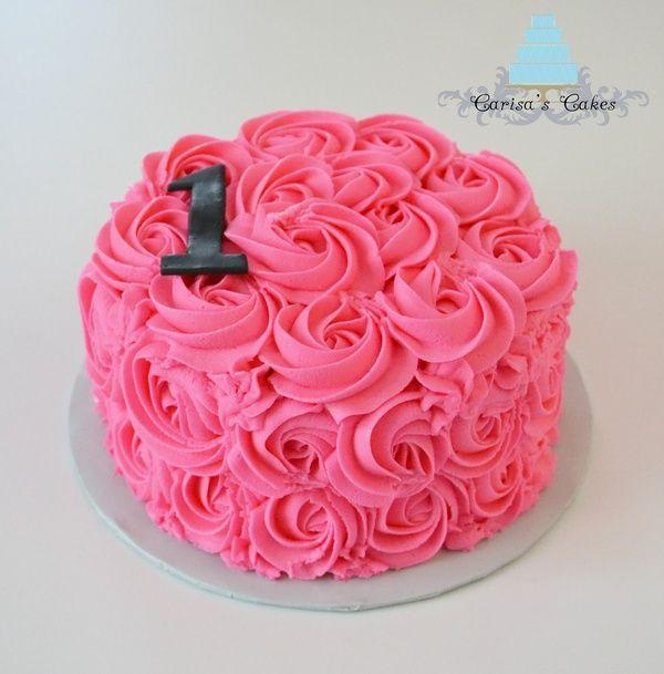 pink 1st birthday smash cake