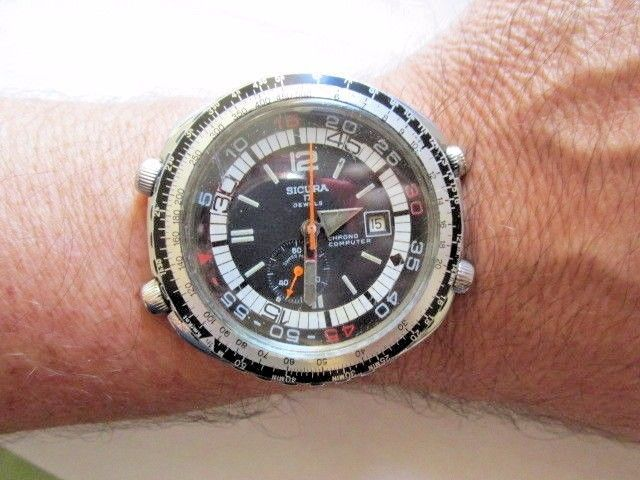 Rare Vintage Sicura COMPUTER Chronograph Stainless Swiss Manual Winding 47mm #Sicura #PilotAviator