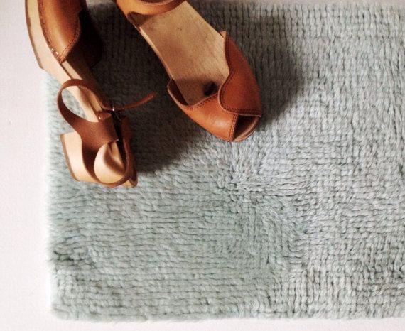 Vintage latch hook rug small mint green handmade wool by VelvetEra