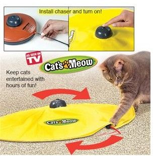 """Motorized cat teaser. Give your beloved kitty something fun to do other than claw and scratch the furniture and rugs. The Cat's Meow simulates an uncatchable """"mouse"""" scurrying beneath a durable nylon canopy, which is actually a wand attached to the bottom that spins, reverses direction and changes speed.  Get your rebate from RebateBlast."""