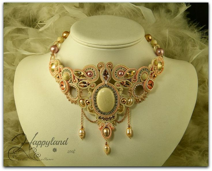 """Sahara Sunrise"" soutache necklace . Riverstone , Swarovski components and sterling silver rose gold"