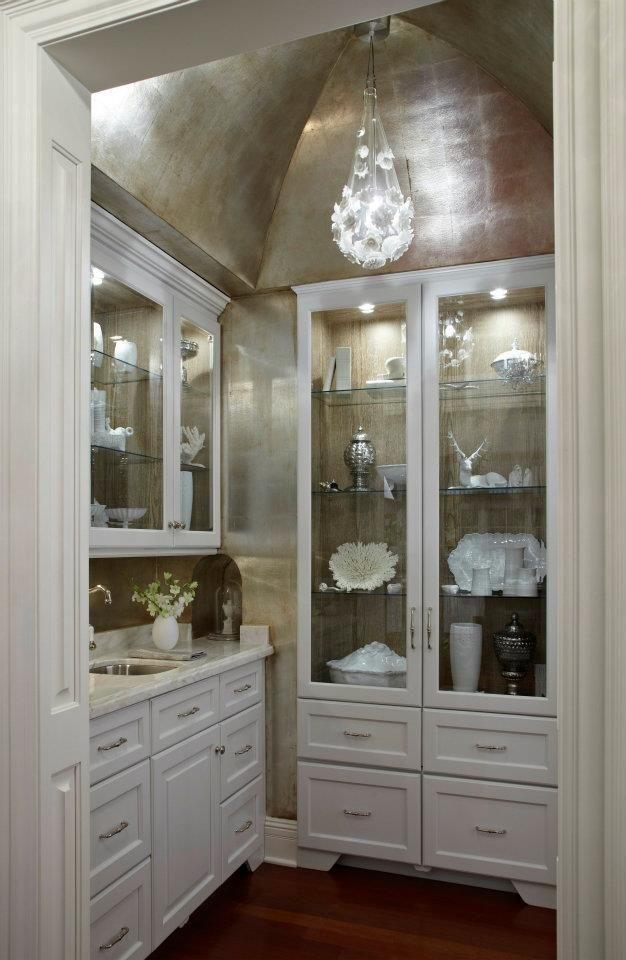 silver ceiling in pantry. AMAZING