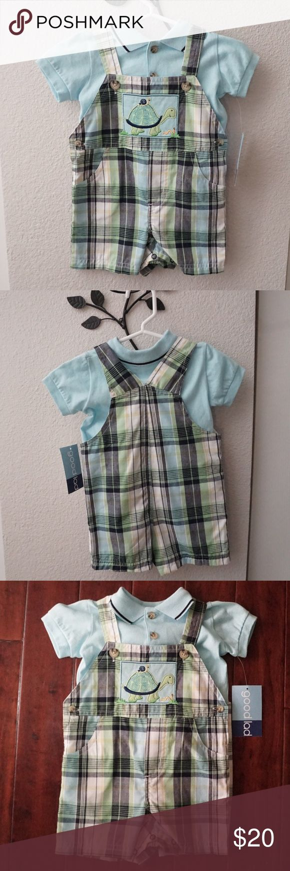 NWT-Good Land Apparel Turtle Overall Shorts Boy These are brand new and adorable! Baby blue shirt. Black, white, green and yellow plaid. Happy little mamma and baby turtle patch. Perfect condition with tags. Bundle in my closet and save! Matching Sets