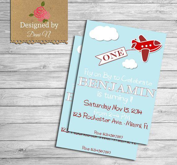 Airplane Birthday Invitation Diy Printable By Vindee On Etsy: Airplane Birthday Invitation, Printable Party Invite, Red