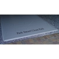 Park Smart Clean Park Heavy Duty Garage Mat  Garage Mats not only protect your garage floor, but will contain gallons and gallons of snow, water, mud, grit and grime that make a mess of your garage floor.    The heavy duty vinyl is 2.5 times thicker than the standard garage mats.     It measures 50- mils thick.