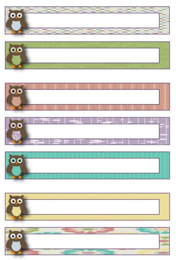 cute owl-themed file folder labels