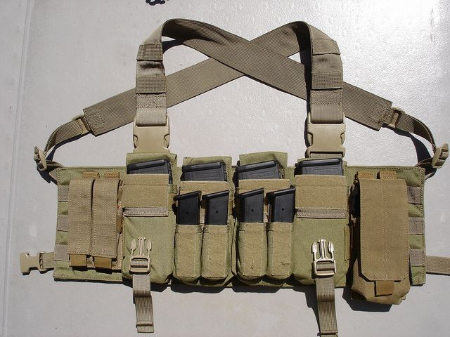 Eagle Industries LE Active Shooter Chest Rig (Ranger Green) with 5.11 Molle Pouches (FDE)