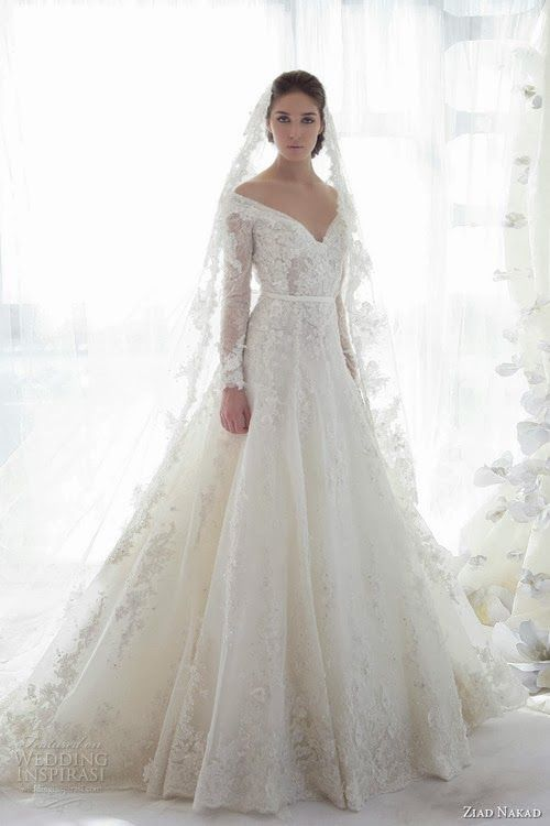Amazingly elegant lace gown- would love this as a V-neck with straps instead of the sleeves. Gorgeous gown.