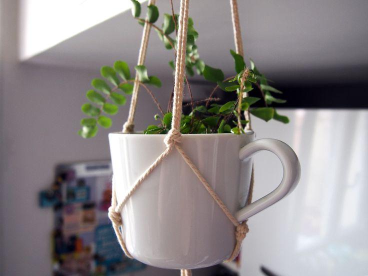 Hanging planter in cofffee cup via @nellyglassmann