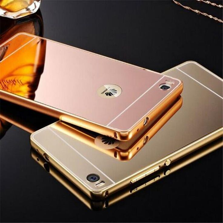 Fashion Luxury Rose Gold Silver Black Beauty Frame Mirror Case For Huawei Ascend P8 LITE P 8 P8LITE Back Shell Cover Housing New