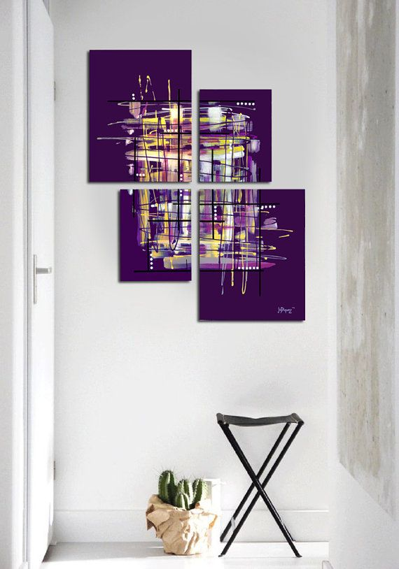 """Original abstract painting. 4 piece canvas art. 42x34"""" Large painting. Purple painting with yellow, lavender. Unique. Free shipping!"""