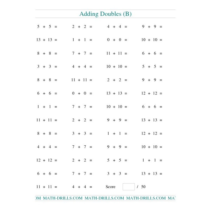 Addition Worksheet -- Adding Doubles to 13 13 (B ...