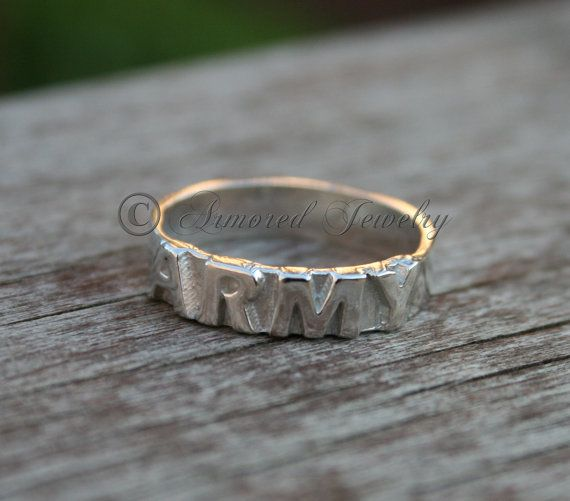 Sterling Silver US Army Ring  Military Jewelry  by ArmoredJewelry, $50.00