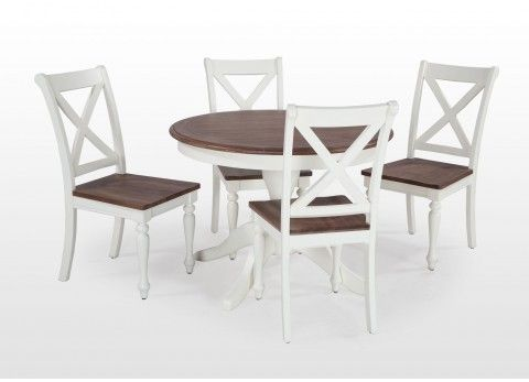 Ivory Walnut Round Dining Table And Four Chairs Set