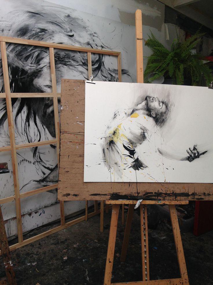 ewa HAUTON  #inkpainting #studio #blackandwhite #drawing #charcoal #dancer #yellow