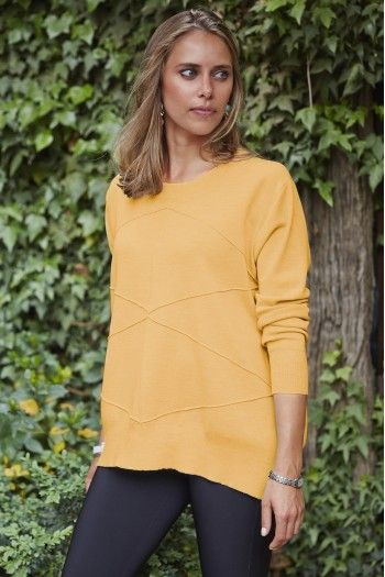 Lady Kate Loose Round Neck with Stitching Detail in Yellow