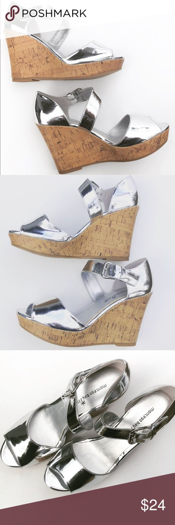 New Silver Wedges Cork Silver Wedges with cork very attractive cross over strap. These will be sexy and comfortable great for maxi dresses or jeans. New without a box. Montego Bay Club Shoes Wedges