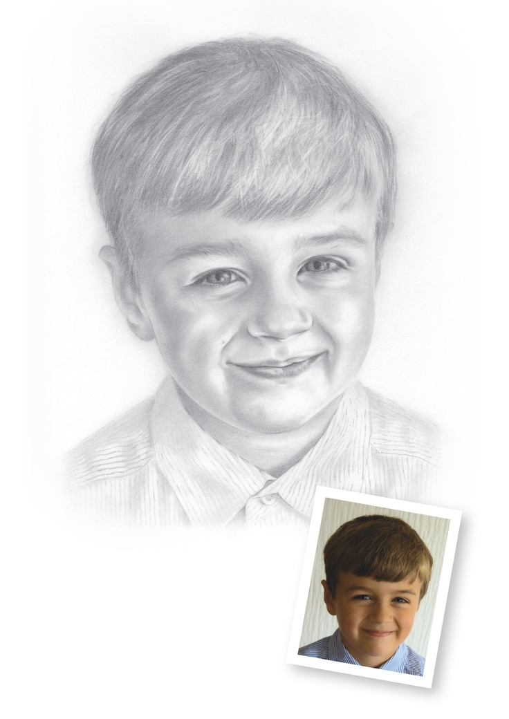 """Pencil Drawings of Boys - Thomas.  """"Mum and Dad gave us the pencil portraits of Thomas and Victoria for Christmas. They are absolutely fabulous!!!""""   Renate, Plymouth"""