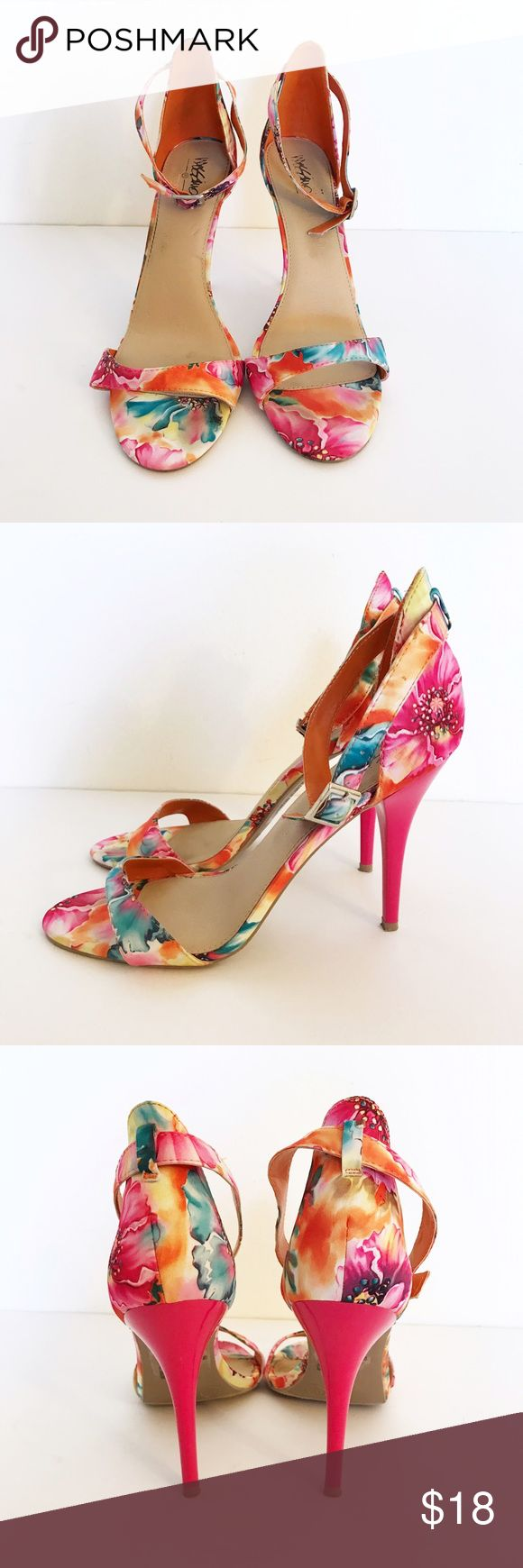 """Bright Floral Strappy Heels Strappy heels with a bright floral print. Perfect for Spring & summer! Heels are 4.5"""" Mossimo Supply Co Shoes Heels"""