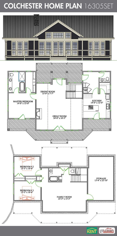 Colchester 3 bedroom, 2-1/2 bath home plan. Features: open concept ...