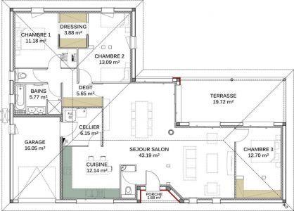Plan de maison moderne Genus Plans de maison en L Pinterest - plan de maison de 100m2 plein pied