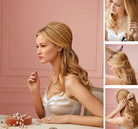 Diy Hairstyles For Long Hair: DIY Simple Wedding Hairstyle. Half Up Half Down With Curls
