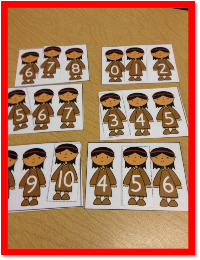 "Native American Themed ""Missing Number"" Center (from Time 4 Kindergarten; November Math & Literacy Stations)"