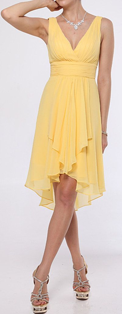high low hem bridesmaid dress Yellow chiffon dress mullet dress evening party dress. $70.00, via Etsy.