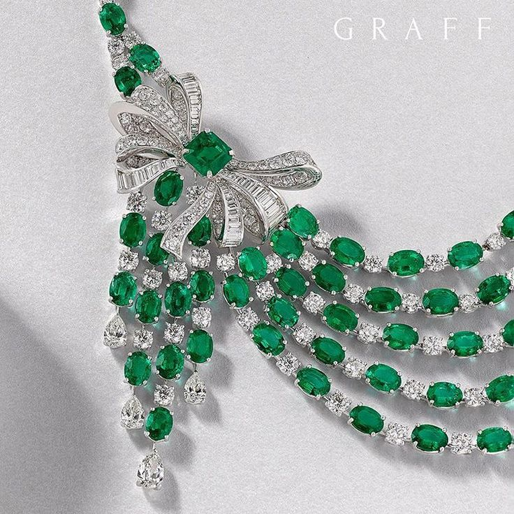 Romantic ribbon As we enter into the festive season, Graff presents the ultimate gift; an exquisite necklace featuring a magnificent diamond and emerald bow.  #GraffDiamonds #GraffBow #BowDiamond #Emeralds