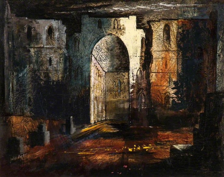 Rievaulx Abbey, North Yorkshire by John Piper  Oil on linen, 70 x 88 cm Collection: Rochdale Arts & Heritage Service