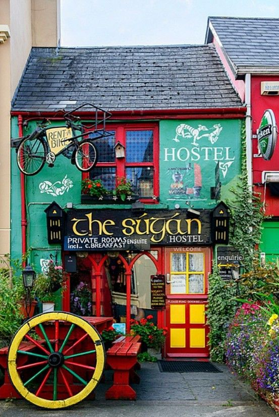 The colorful Súgán hostel ~ a popular stop for hikers and bikers in Killarney, Ireland • photo:  philhabe on Flickr