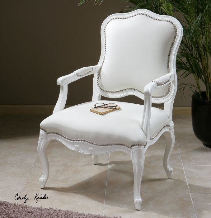 Uttermost Willa Pearl Armchair   White   Accent Chairs At Hayneedle