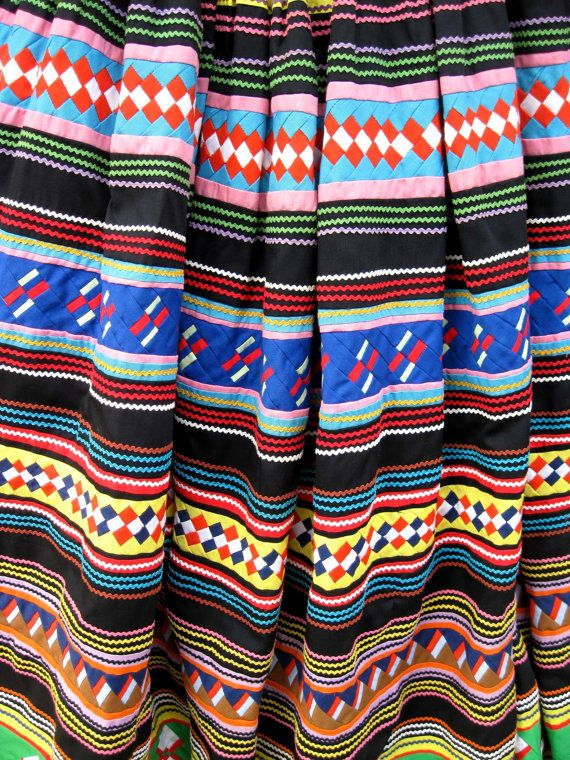 Bright Patchwork Seminole Indian Skirt
