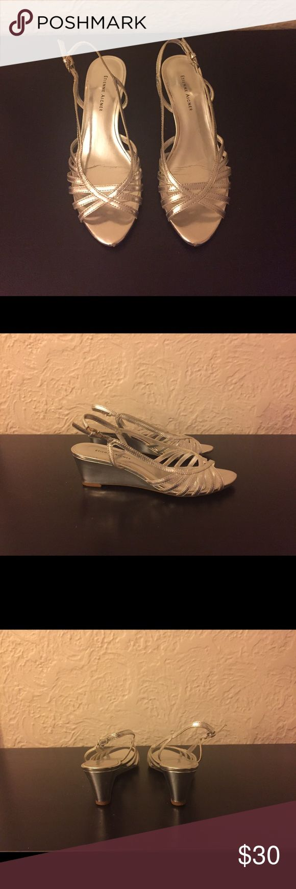 """Etienne Aigner Silver Wedge Sandals size 6 Slightly used/worn Etienne Aigner silver wedge sandals in size 6.  Leather upper.  Approx 2"""" heel.  Super cute and very comfortable. Etienne Aigner Shoes Wedges"""