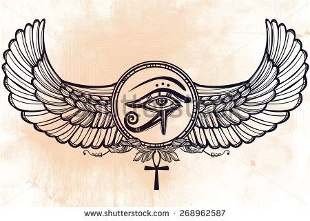 Hand-drawn vintage tattoo art. Vector illustration, tribal symbol of pharaoh, element of ancient Egypt design in linear style. The eye of god of sun Ra Horus with wings and ankh. Isolated. Chalkboard  - stock vector