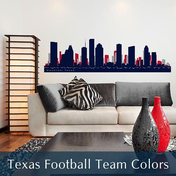 HOUSTON TEXAS Skyline Football Team Colors Wall Decal Vinyl